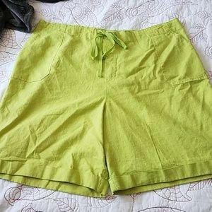 NWT Linen cuffed elastic/tie shorts